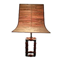Mid Century Nickel and Wood Table Lamp, 1960s