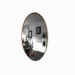 Mid-Century Oval Brass Mirror
