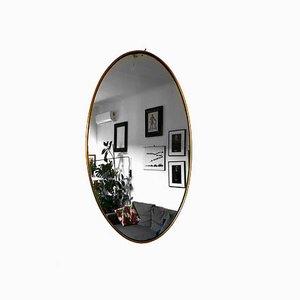 Ovaler Mid-Century Spiegel mit Messingrahmen