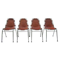 Leather Chairs by Charlotte Perriand for Les Arcs, 1960s, Set of 4