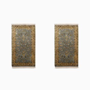 Blue and Gold Yellow Wool & Silk Handmade Jaipur Carpets, 1984, Set of 2