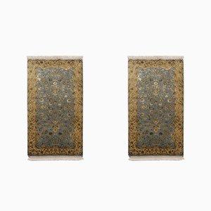 Blue and Gold Yellow Wool & Silk Handmade Jaipur Carpets, 1984, Set of 2