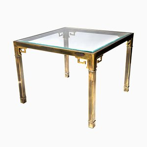 Brass Greek Key Games Room Table from Mastercraft, 1970s, Set of 2