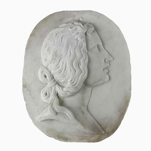 Oval Relief in White Carrara Marble with Woman's Profile, Early 1900s