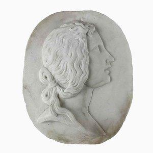 Relief Ovale en Marbre de Carrare Blanc avec Profil de Femme, Début 1900s