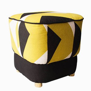 Mid-Century Black and White Pouf by Pierre Frey