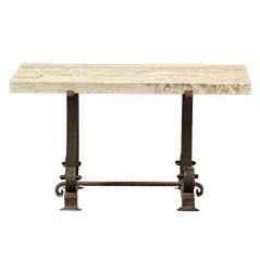 Mesa de centro vintage de hierro y travertino