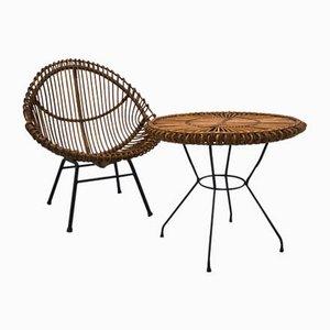 Chaise et Table en Rotin par Janine Abraham, 1960s, Set de 2