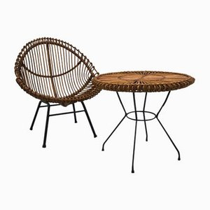 Wicker Chair & Table by Janine Abraham, 1960s, Set of 2