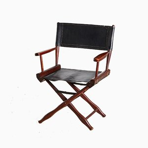 Rosewood & Leather Director Chair from M. Hayat & Bros Ltd, 1970s