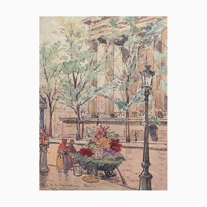 Antique Flower Seller Place de la Madeleine Painting