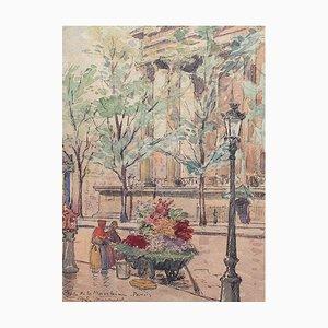 Antique Flower Seller Place de la Madeleine Painting