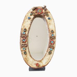 Ceramic Oval Wall Mirror with Floral Enamel Decoration by Atelier La Roue, 1960s
