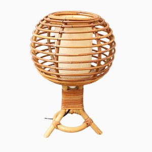 Mid-Century French Rattan Table Lamp, 1960s