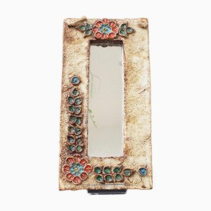 Mid-Century French Ceramic Wall Mirror with Flower Motif by La Roue, 1960s