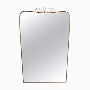 Mid-Century Italian Brass & Top Flourish Wall Mirror, 1950s