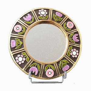 Ceramic Wall Mirror with Flower Motif by François Lembo, 1960s
