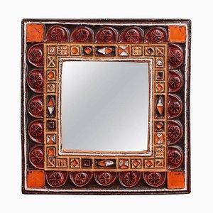 Mid-Century French Ceramic Decorative Mirror, 1960s
