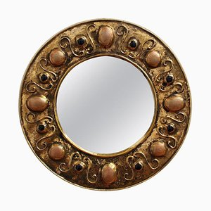 Gilded Ceramic Decorative Wall Mirror by François Lembo, 1960s