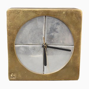 Brutalist Aluminium and Brass Decorative Clock by David Marshall, 1980s