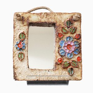 Small French Ceramic Wall Mirror with Flower Motif by La Roue, 1960s