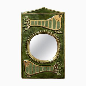 Ceramic Decorative Wall Mirror by François Lembo, 1970s