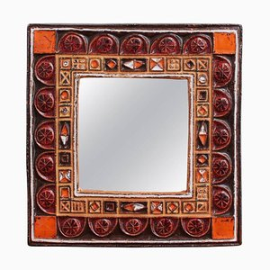 Mid-Century French Ceramic Decorative Mirror, 1960s