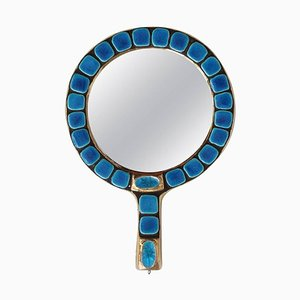 Ceramic Tiled Hand Mirror by François Lembo, 1970s