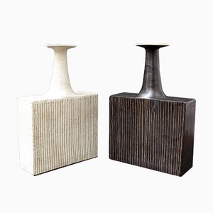 Ceramic Vases with Line Motif by Bruno Gambone, 1970s, Set of 2
