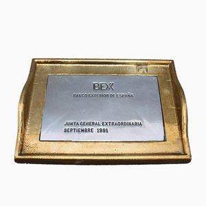 Decorative Aluminum and Brass Tray Commissioned for Banco Exterior de España