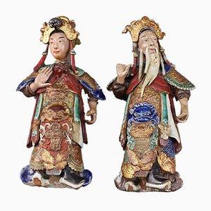Antike dekorative chinesische Wandbehang Figuren, 2er Set