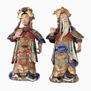 Antique Chinese Earthenware Decorative Wall-Hanging Figures, Set of 2