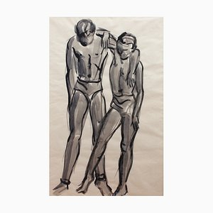 The Dancers French School Triptych Attributed to Roger Mouly, 1950s, Set of 3