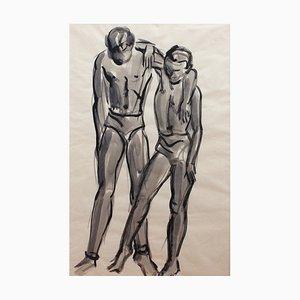 The Dancers French School Triptychon von Roger Mouly, 1950er, 3er Set