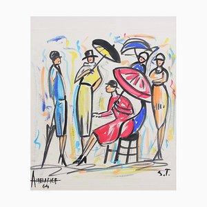 La Ponche St. Tropez Painting by André Meurice, 1964