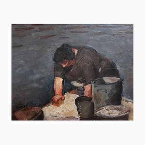 The Laundress Painting by Alexandre Houzé, 1890s