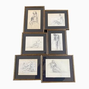 Set II Drawings by Guillaume Dulac, 1920s, Set of 6