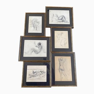 Set I Drawings by Guillaume Dulac, 1920s, Set of 6