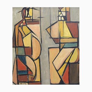 Cubist Man and Woman Painting by STM, 1950s