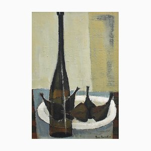 Still Life with Bottle and Figs Painting by Pierre Fournel, 1960s
