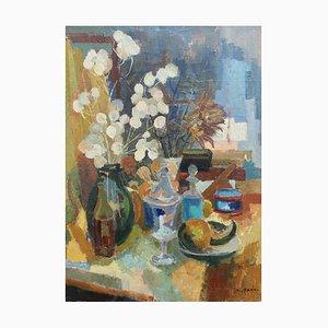 Nature Morte avec Vases, Vases et Fruits Peinture par Nicole Yzon, 1940s