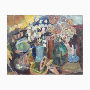 Still Life on Tabletop Painting by Nicole Yzon, 1940s