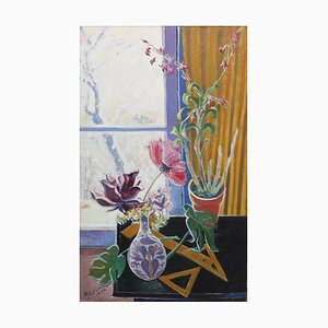 Still Life with Flowers and Snow Painting by Yoritsuna Kuroda, 1974