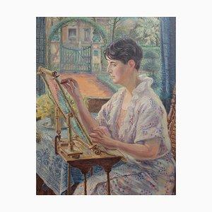 Peinture Woman by the Window avec Cadre à Broderies par Franz Ludwig Kiederich, 1930s