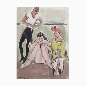 Ballet Dancers at the Opera de Paris Painting by Yves Brayer, 1940s
