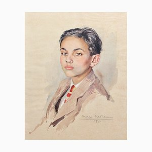 Portrait of Suited Boy Painting by Max Moreau, 1943