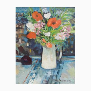 Bouquet with White Jug Painting by Jacques Petit, 1990s