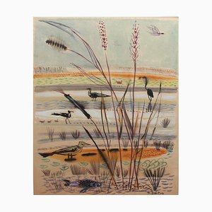 The Wetlands Painting by Michel Debiève, 1970s