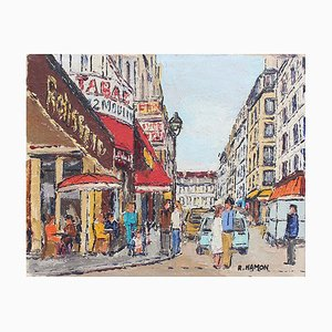 Parisian Street Corner Painting by Roland Hamon, 1970s