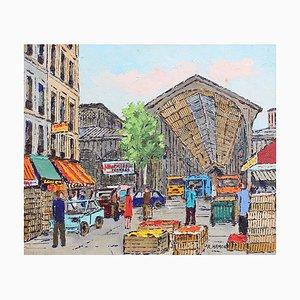 The Food Market Halles Gemälde von Roland Hamon, 1960er